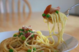 Спагетти карбонара с беконом без соуса